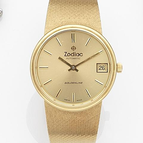 Zodiac. An 18ct gold automatic calendar bracelet watch Goldenline, Ref:1045 513, Case No.576182, Circa 1980