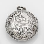 Mercier, London. A silver key wind repousse pair case pocket watch Case and Movement No.1356, Circa 1750