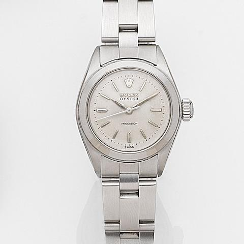 Rolex. A lady's stainless steel manual wind bracelet watchOyster Precision, Ref:6410, Case No.1381755, Circa 1965