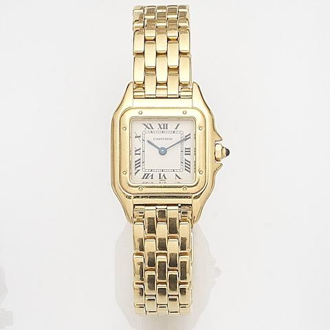 Cartier. A lady's 18ct gold quartz bracelet watchPanthere, Ref:01114, Case No.8057917, Circa 1995