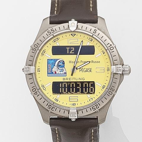 Breitling. A titanium quartz minute repeating chronograph wristwatch with digital displayAerospace Mission Franco-Russe, Ref:E65062, Case No.13620, Circa 1998