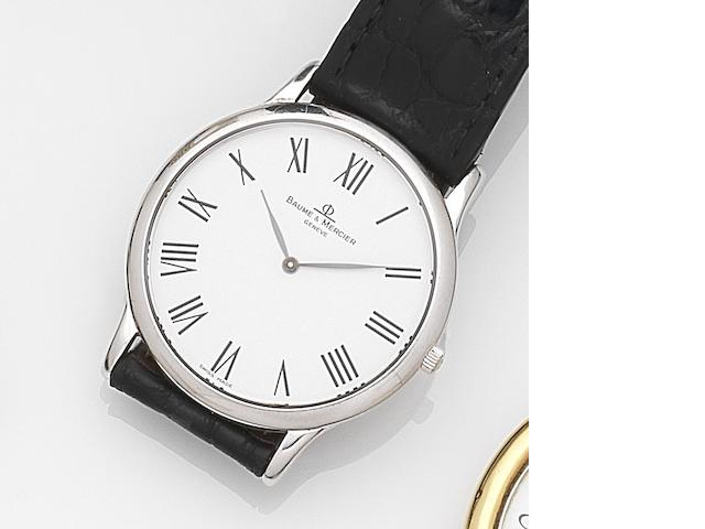 Baume & Mercier. An 18ct white gold quartz wristwatch together with silver pocket watch by Juvenia Ref:MV045200, Case No.4266267, Circa 1990