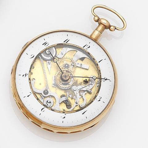 Swiss. A continental gold skeletonised quarter repeating pocket watch Case No.9179P&SK8173, Circa 1850