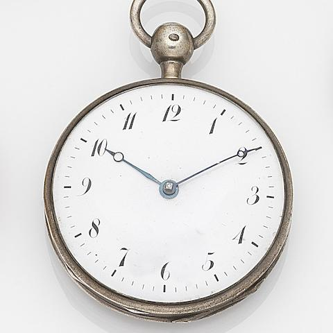 Unsigned. A silver key wind quarter repeating open face pocket watchRef:7027, Case No.85/3389, Circa 1830