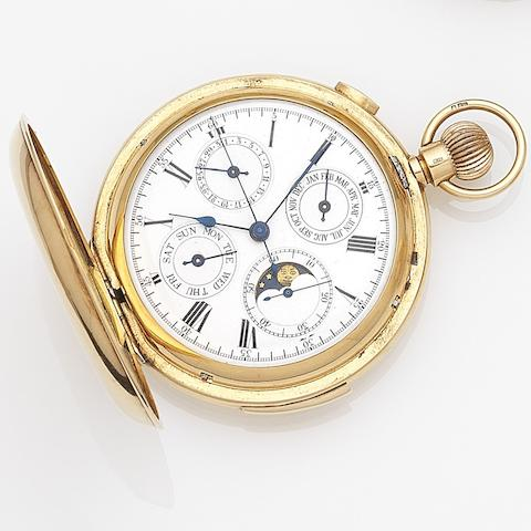 Unsigned. An 18ct gold keyless wind minute repeating triple calendar chronograph full hunter pocket watch with moon phases Case No.203767, London Hallmark for 1910