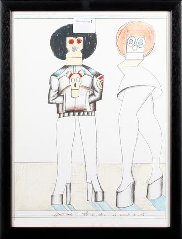 Saul Steinberg (American, 1914-1999) Two figures lithograph from Derriere le Mirroir (rear cover), 1977, 36.5 x 26.5cm; together with nine other prints after the same artist, from the same publication. (10)