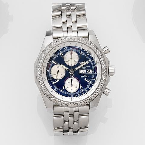 Breitling. A stainless steel oversized automatic calendar chronograph bracelet watch Bentley GT, Ref:A13362, Case No.2262830, Circa 2005