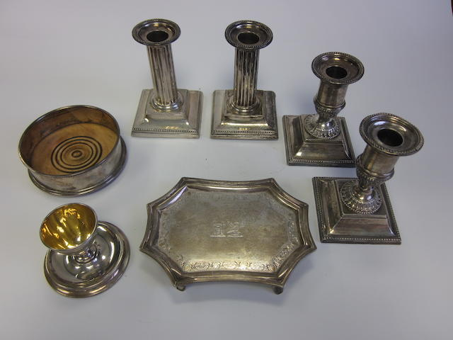 A George III silver teapot stand maker's mark partially visible, London 1810  and other items (7)