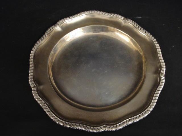 A Victorian silver circular plate by Robert Garrard, London 1865,