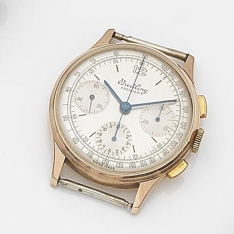 Breitling. An 18ct rose gold manual wind chronograph watch head Premier, Ref:787, Case No.661518, Circa 1945