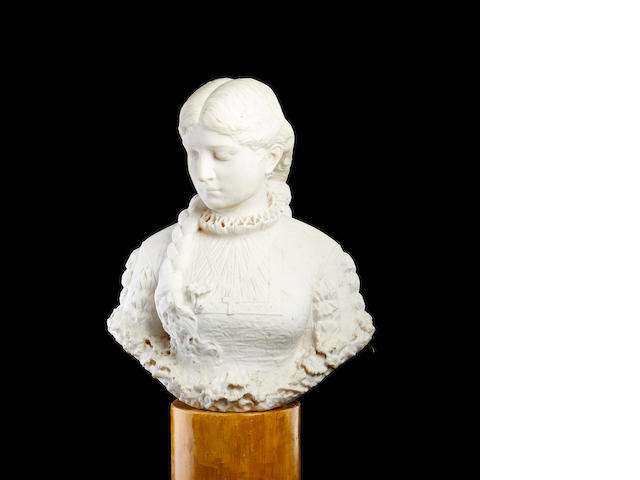 A 19th century marble bust of an Elizabethan noblewoman possibly the young Mary Queen of Scots