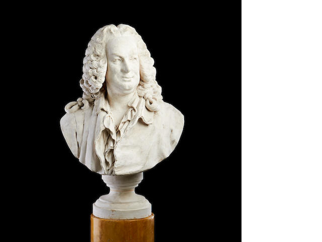 After Jean-Jacques Caffieri, French (1725-1792) A plaster bust of Jean-Baptiste Rousseau