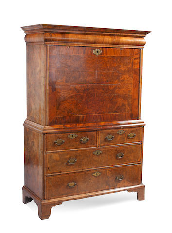 An early 18th century walnut secretaire a abbatant