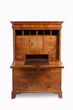 An 18th century walnut secretaire a abbatant