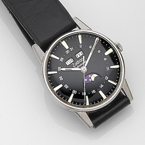 Zodiac. A stainless steel automatic calendar moonphase wristwatchRef:742-908, Case No.1693960, Circa 1970