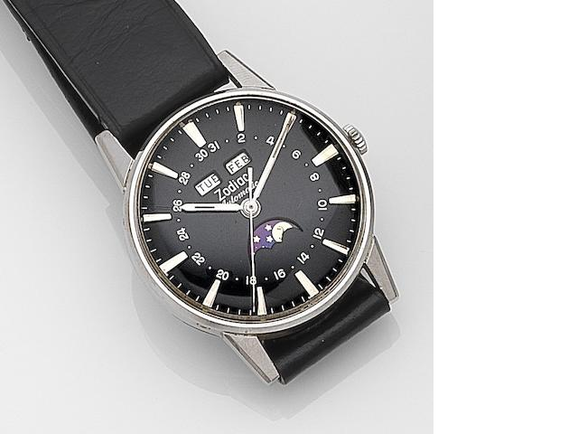 Zodiac. A stainless steel automatic calendar moonphase wristwatch Ref:742-908, Case No.1693960, Circa 1970
