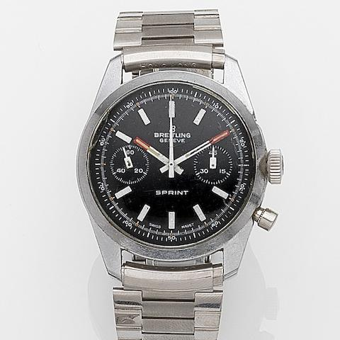 Breitling. A stainless steel manual wind chronograph bracelet watchSprint, Circa 1960