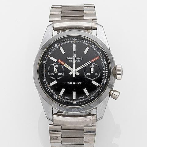 Breitling. A stainless steel manual wind chronograph bracelet watch Sprint, Circa 1960
