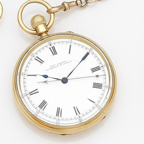 Robert Roskell, Liverpool & London. An 18ct gold keyless wind centre seconds open face pocket watch with 9ct gold Albert chain with fobCase No.48387, Movement No.74629, London Hallmark for 1918