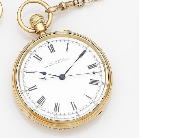 Robert Roskell, Liverpool & London. An 18ct gold keyless wind centre seconds open face pocket watch with 9ct gold Albert chain with fob Case No.48387, Movement No.74629, London Hallmark for 1918