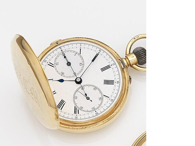 W. Campbell, London. An 18ct gold keyless wind chronograph full hunter pocket watch Case and Movement No.60481, Circa 1881