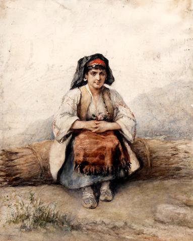 Cesare Felix Georges dell' Acqua (Italian, 1821-1904) 'Dalmantine', portrait of a seated peasant woman