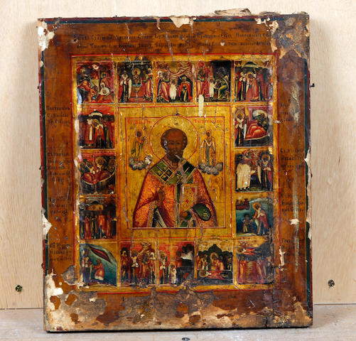 Russian School, (19th century) An icon with scenes from the life of St. George