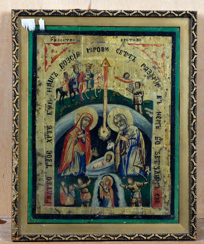 Balkan School, (mid 19th century) An icon of the Nativity