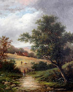 British School, (circa 1860) Country landscape with fisherman by a river, with figure on a stone bridge before cottages, and another, a country landscape with figures gathering hay with houses beyond, a pair