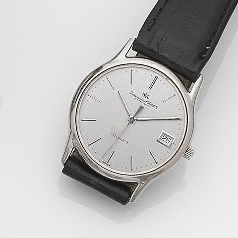 IWC. A stainless steel quartz calendar wristwatch Ref:3304, Case No.2268301, Movement No.2331680, Circa 1990