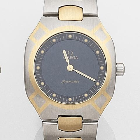 Omega. A stainless steel and gilt quartz bracelet watchSeamaster, Ref:386.0288.1, Case No.54856323, Sold 7th July 1995