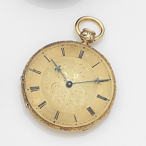 Unsigned. A continental gold key wind open face quarter repeating pocket watchCase No.4892 3825, Circa 1820