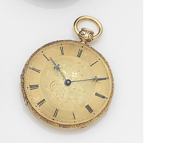 Unsigned. A continental gold key wind open face quarter repeating pocket watch Case No.4892 3825, Circa 1820
