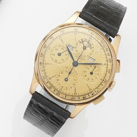 Universal. An 18ct gold manual wind triple calendar chronograph wristwatchTri-Compax, Ref:12552, Case No.1074749, Circa 1950