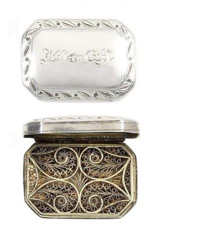A rare George III silver vinaigrette by Samuel Pemberton, Birmingham 1802 and another silver vinaigrette, by John Shaw, Birmingham 1821, (2)