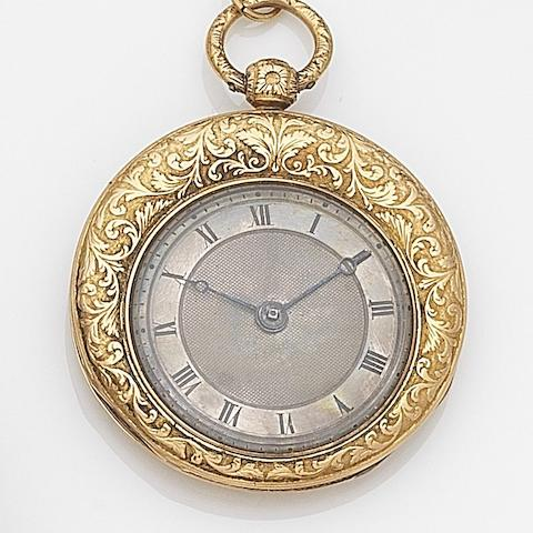 Charles Oudin, Paris. A continental gold key wind open face pocket watch No.6467, Circa 1820