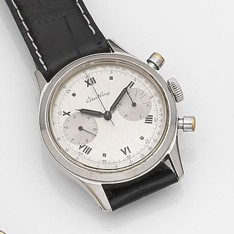 Breitling. A stainless steel manual wind chronograph wristwatchRef:777, Case No.620668, Circa 1945