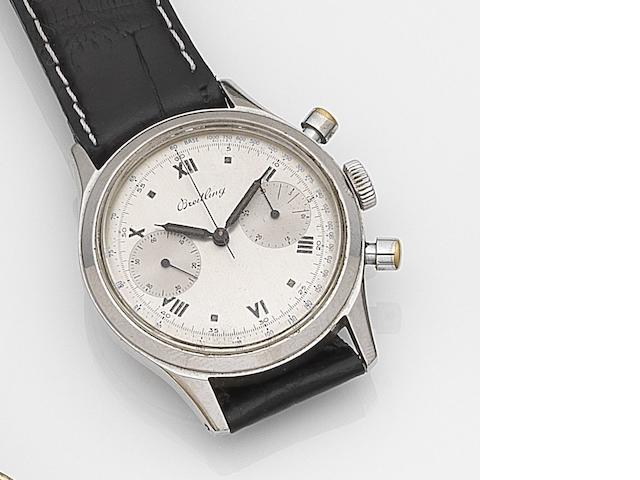Breitling. A stainless steel manual wind chronograph wristwatch Ref:777, Case No.620668, Circa 1945