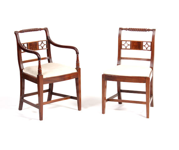 A set of six Scottish Regency mahogany dining chairs