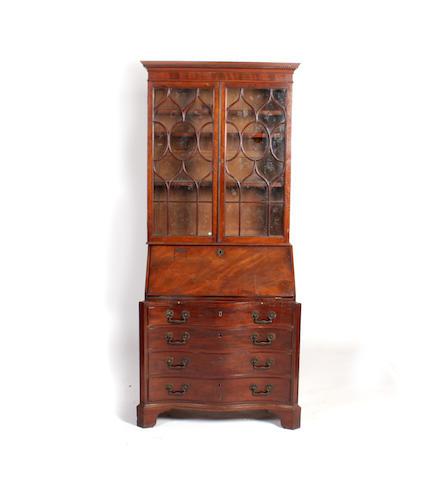 A George III style mahogany bureau bookcase
