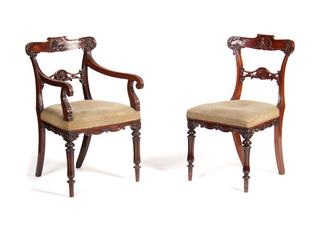 A set of five Scottish solid rosewood dining chairssecond quarter 19th century
