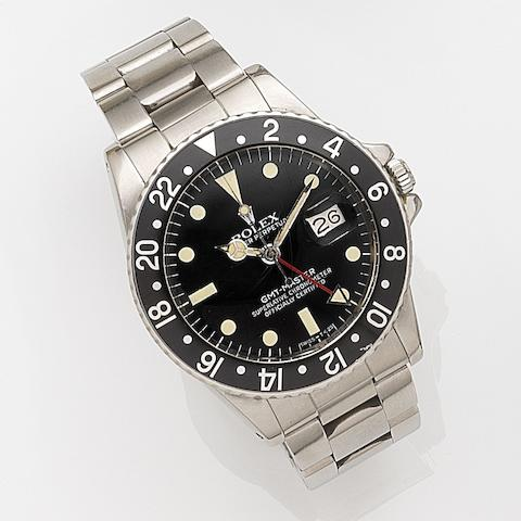 Rolex. A stainless steel automatic calendar bracelet watch with second timezone GMT-Master, Ref:16750, Case No.672****, Movement No.074****, Circa 1980