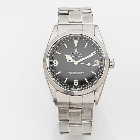 Rolex. A stainless steel automatic centre seconds bracelet watchExplorer, Ref:1016, Case No.127****, Movement No.D3****, Circa 1965