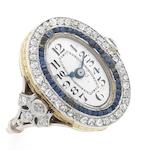Unsigned. An 18ct gold sapphire and diamond set manual wind ring watch Case No.218915, Circa 1910