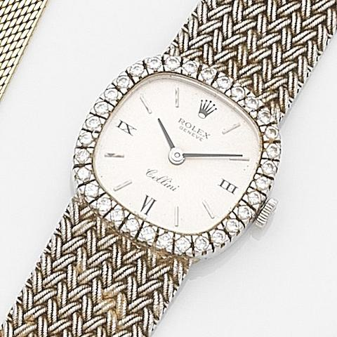 Rolex. An 18ct white gold and diamond set manual wind bracelet watchCellini, Ref:3890, Case No.202****, Circa 1969