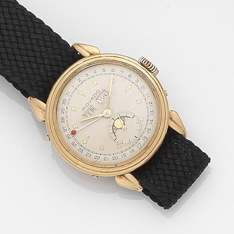 Movado. An 18ct gold manual wind calendar wristwatch Ref: 4970, Case No.477289, Circa 1950