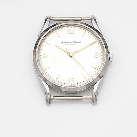 IWC. A stainless steel manual wind centre seconds watch head Case No.1296151, Movement No.1310961, Circa 1950