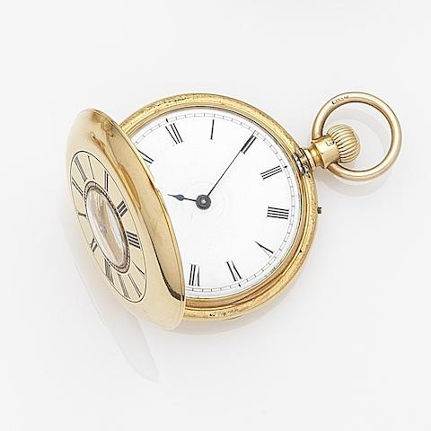 William Wells, London. An 18ct gold keyless wind half hunter pocket watchCase and Movement No.5743, London Hallmark for 1871