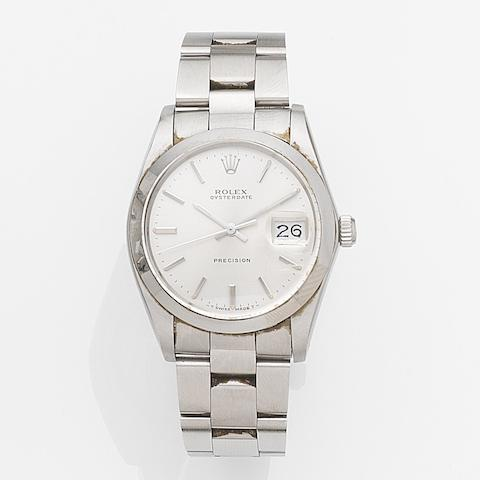 Rolex. A stainless steel manual wind calendar bracelet watchOysterdate, Ref:6694, Case No.900****, Movement No.9288, Sold 4th April 1991