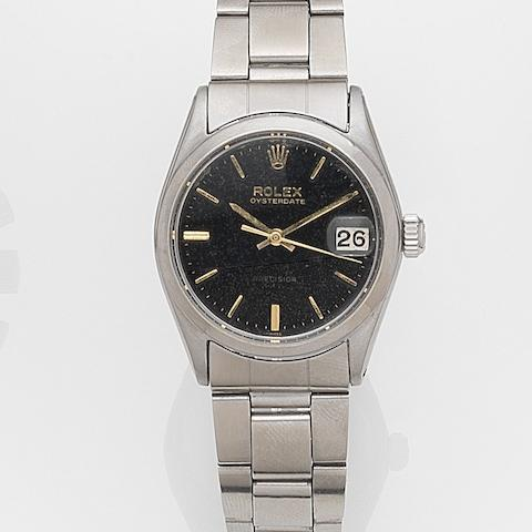 Rolex. A stainless steel manual wind calendar bracelet watch Oysterdate, Ref:6466, Case No.850***, Movement No.65***, Circa 1962